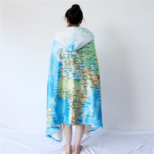 World Map Hooded Blanket Adults Microfiber Sherpa Fleece Ocean Blue Wearable Throw Blanket on Bed Sofa 127x152cm