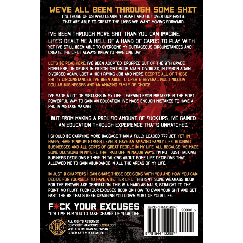 Fuck Your Excuses; Ryan Stewman (Back Cover)