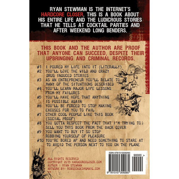 Hardcore Closer; Ryan Stewman (Back Cover)
