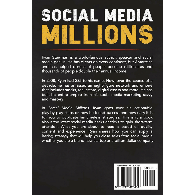 Social Media Millions; Ryan Stewman (Back Cover)