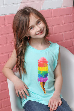 Ice Cream Rolled Armhole Muscle Tank