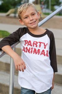 Party Animal 3/4 Sleeve Raglan Baseball Tee