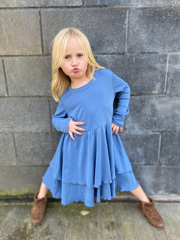 Baby Rib Tiered Peplum Dress