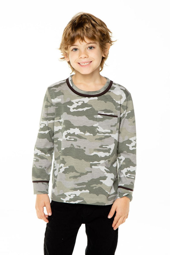 Long Sleeve Camo Vintage Jersey Pocket Tee