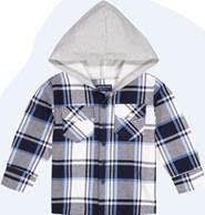Blue Hooded Flannel