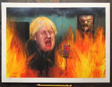 Load image into Gallery viewer, Portrait of Boris Johnson - This is Fine - A3 Print