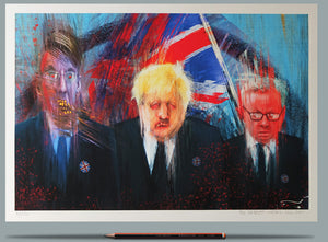 Portraits of Mogg, Boris and Gove.