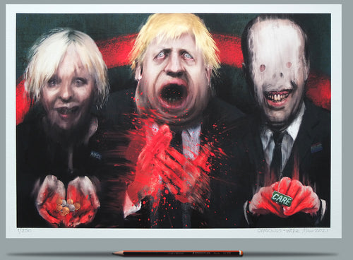 The portraits of Nadine Dorries, Boris Johnson and Matt Hancock.