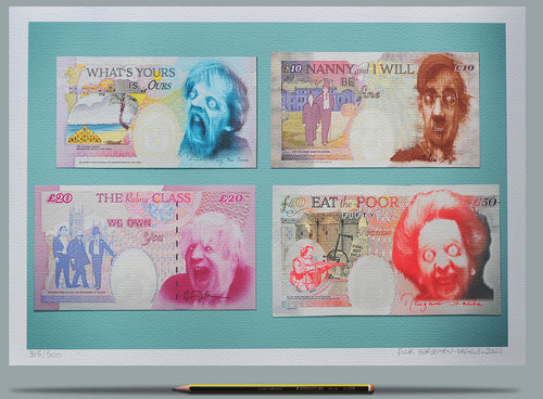 Tory banknotes depicting May, Rees-Mogg, Boris and Thatcher.