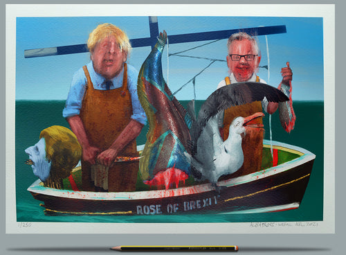 Boris, Gove and Farage at sea. Painting - Wefail