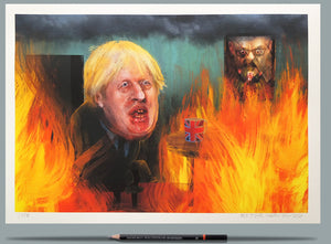 Portrait of Boris Johnson - This is Fine - A3 Print