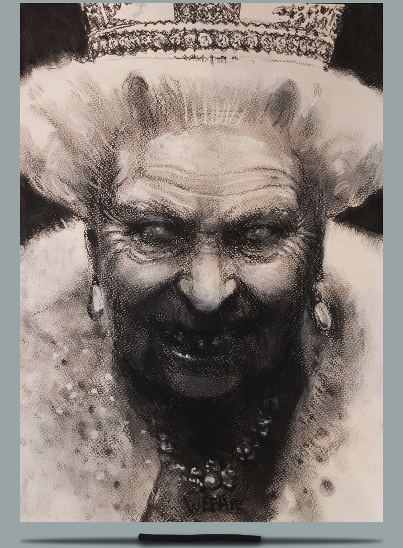 Queen. Charcoal and Pastel on Paper - A3