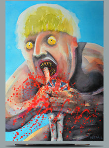 Boris de Pfeffel Devouring His Voters, watercolour 2020