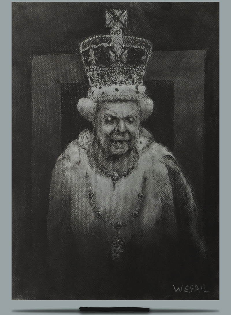 Study of Elizabeth II. Charcoal and Pastel on Paper - A3