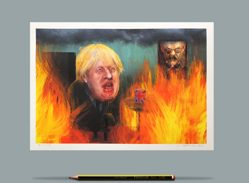 Portrait of Boris Johnson - This is Fine - A4 Print