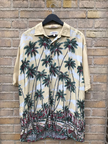Vintage Hawaii Palm Skjorte - XL