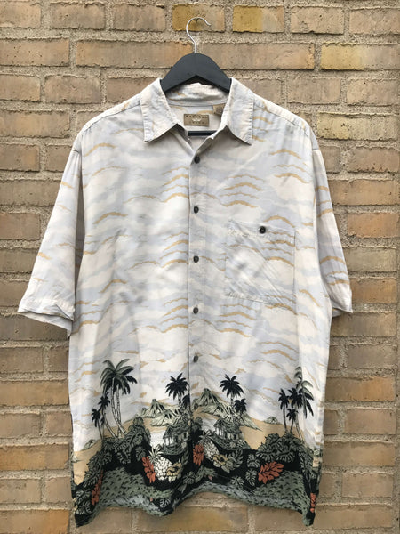 Vintage Hawaii Palm Skjorte - Large