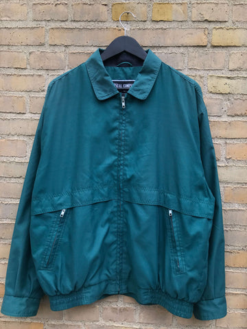 Vintage Forest Green Harringtonjakke - Medium