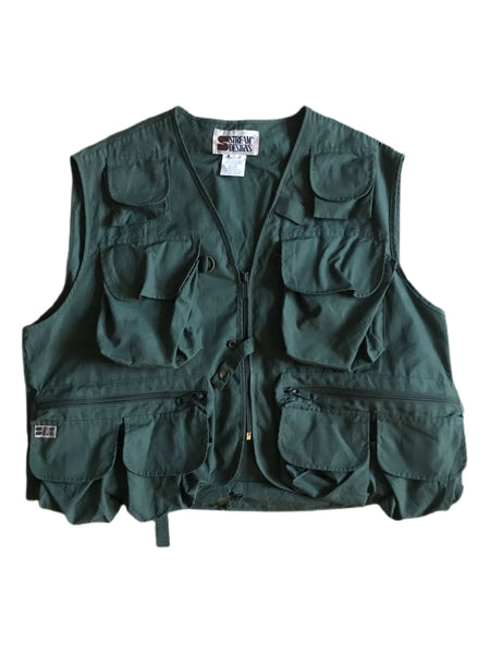 Vintage Forest Green Utility Vest - Medium