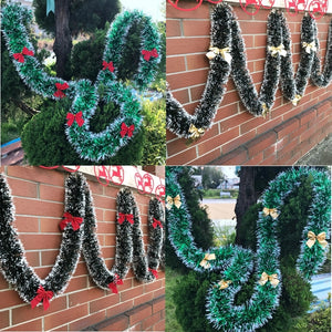 "Christmas Decoration Bar Tops 6'56"" (2M) & Ribbon Garland Christmas Tree Ornaments"