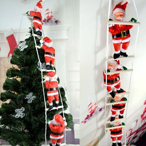 Merry Christmas Ornaments Santa Claus Climbing On Rope Ladder Hanging Decor