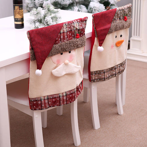 Christmas Chair Covers Santa Snowman Xmas Party Kitchen Decor