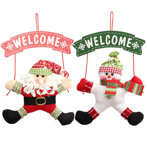 Door Hanging Christmas Tree Decorations Santa and Snowmen