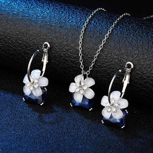 Blue Crystal Flower Jewelry Set