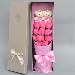 Teddy Bear And Rose Bouquet In Gift Box