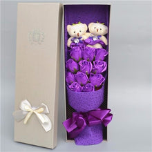 Load image into Gallery viewer, Teddy Bear And Rose Bouquet In Gift Box
