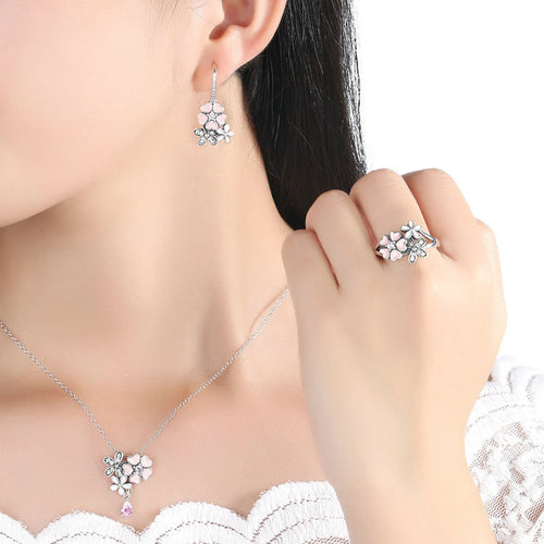 Silver Flower Blossom Jewelry Sets