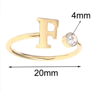 Single Letter Birthstone Ring