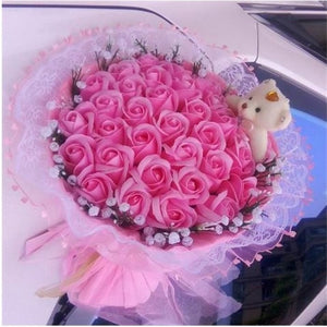 Handmade Teddy Bear In Rose Bouquet