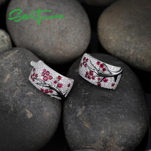 Natural Red Stones Silver Jewelry Set
