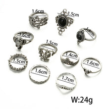 Load image into Gallery viewer, Antique Silver Crown Ring Set