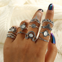 Load image into Gallery viewer, Bohemian Silver Ring Set