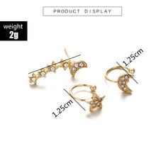 Load image into Gallery viewer, Moon Star Earrings Set