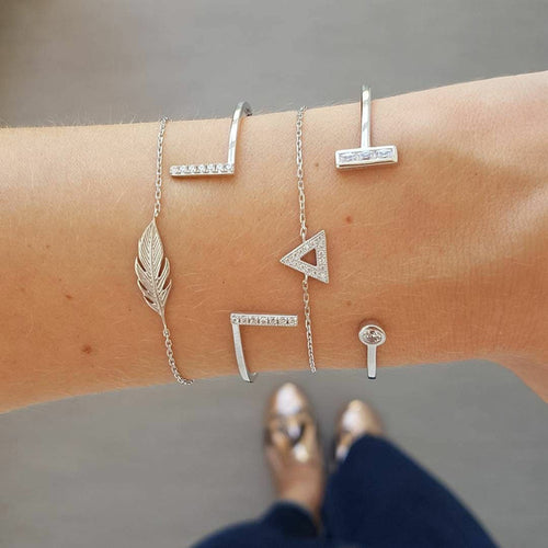 Silver Triangle Bracelet Set