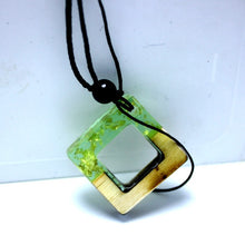 Load image into Gallery viewer, Wood Imitation Square Necklace