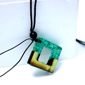 Wood Imitation Square Necklace