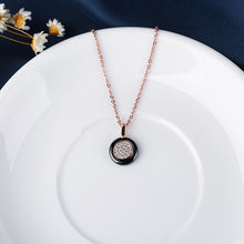 Load image into Gallery viewer, Black Circle and Crystals Necklace