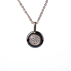 Black Circle and Crystals Necklace