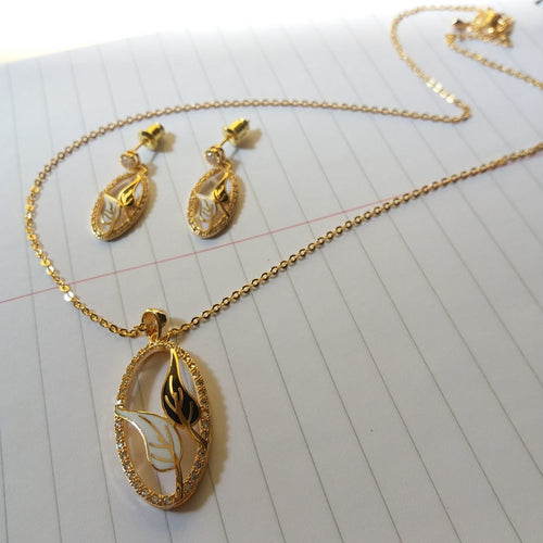 Rhinestone Tree Leaves Jewelry Set