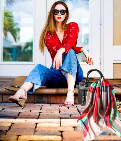 Bag with Scarf and Woman sitting on Porch