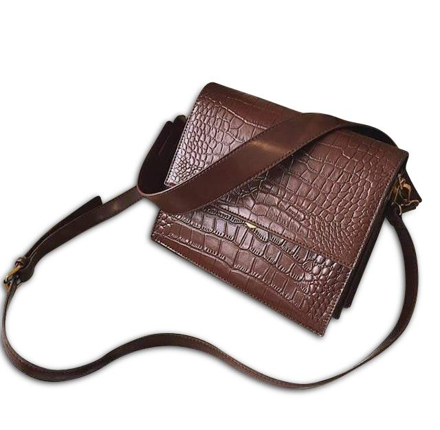 Sophi Purse Crocodile Brunette - Pursh Collection