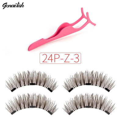 Magnetic eyelashes with 3 magnets  with free eye lash applicator 24P-Z-3-T