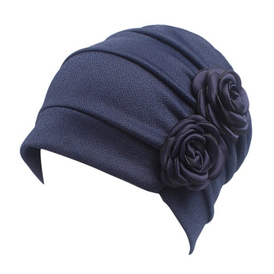 Vintage Style Chemo Beanie for Women w- Flower Accent, Turban, Alopecia Hair Loss
