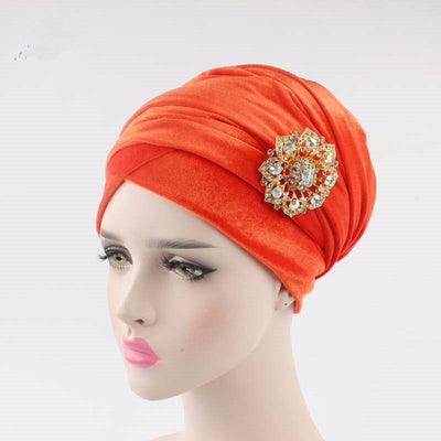 Stretchy Velvet Head Scarf w- Matching Brooch, Turban Chemo Cap Headwrap for Cancer Patients, Alopecia Hair Loss