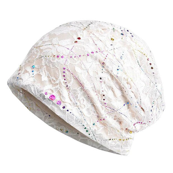 Plated Slouchy Beanie for Women, Cotton Beanie with Lace Cover, Chemo Cap Turban, Hair loss