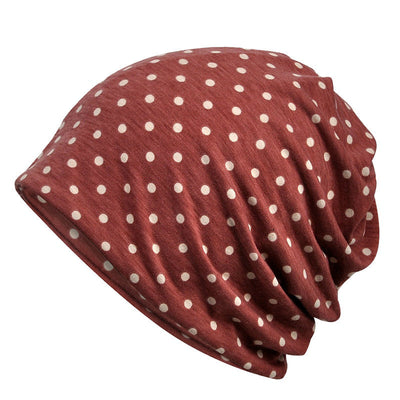 Polka Dot Print Lightweight Beanie Hat for Women, Chemo Cap Stretch Slouchy Sports Baggy Turban